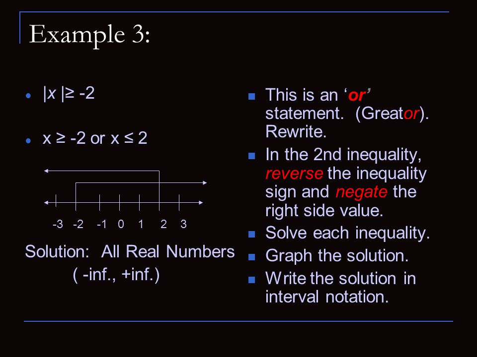 Example 3: |x |≥ -2 This is an 'or' statement. (Greator). Rewrite.