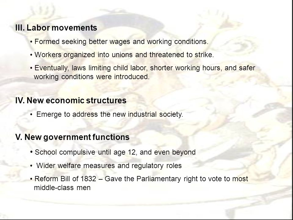 IV. New economic structures
