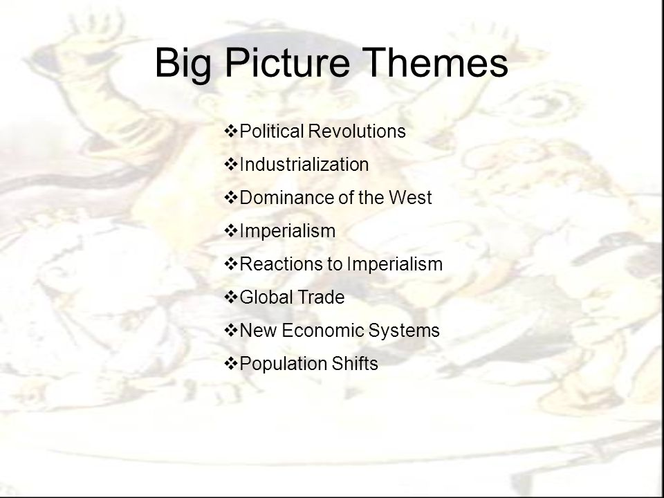 Big Picture Themes Political Revolutions Industrialization
