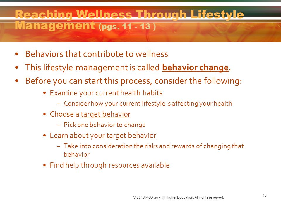 Reaching Wellness Through Lifestyle Management (pgs. 11 - 13 )