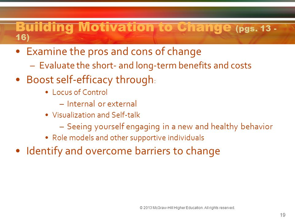 Building Motivation to Change (pgs. 13 - 16)