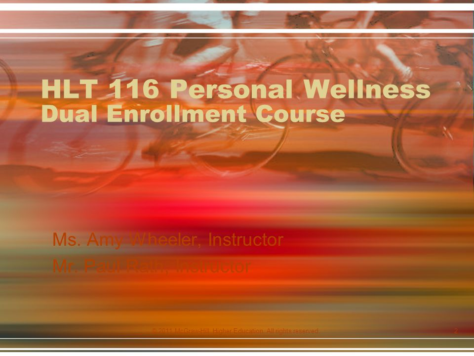 HLT 116 Personal Wellness Dual Enrollment Course