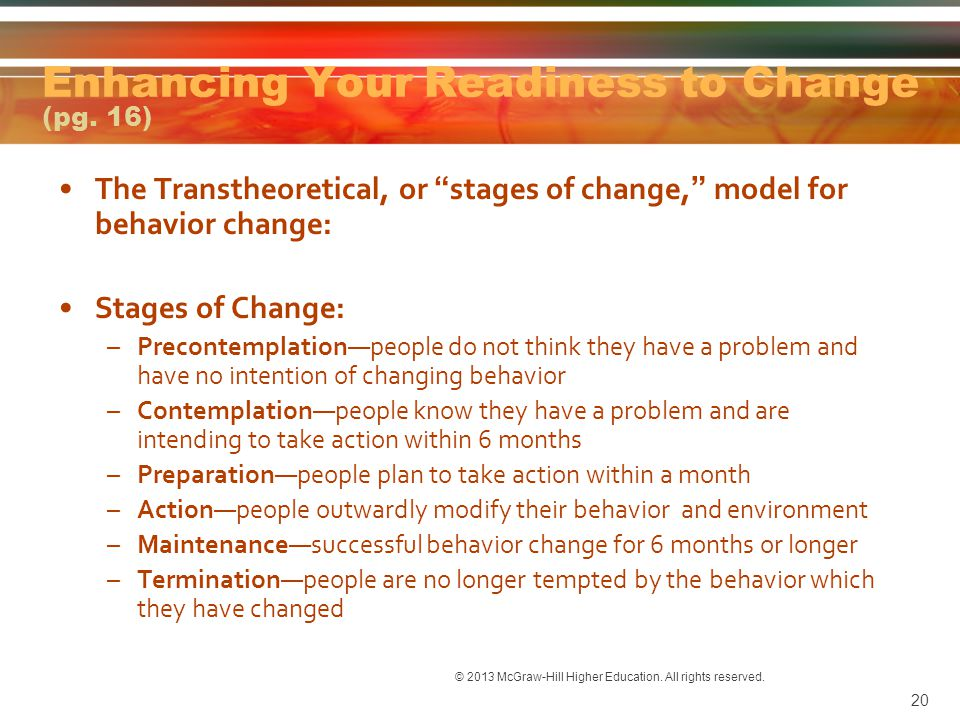 Enhancing Your Readiness to Change (pg. 16)