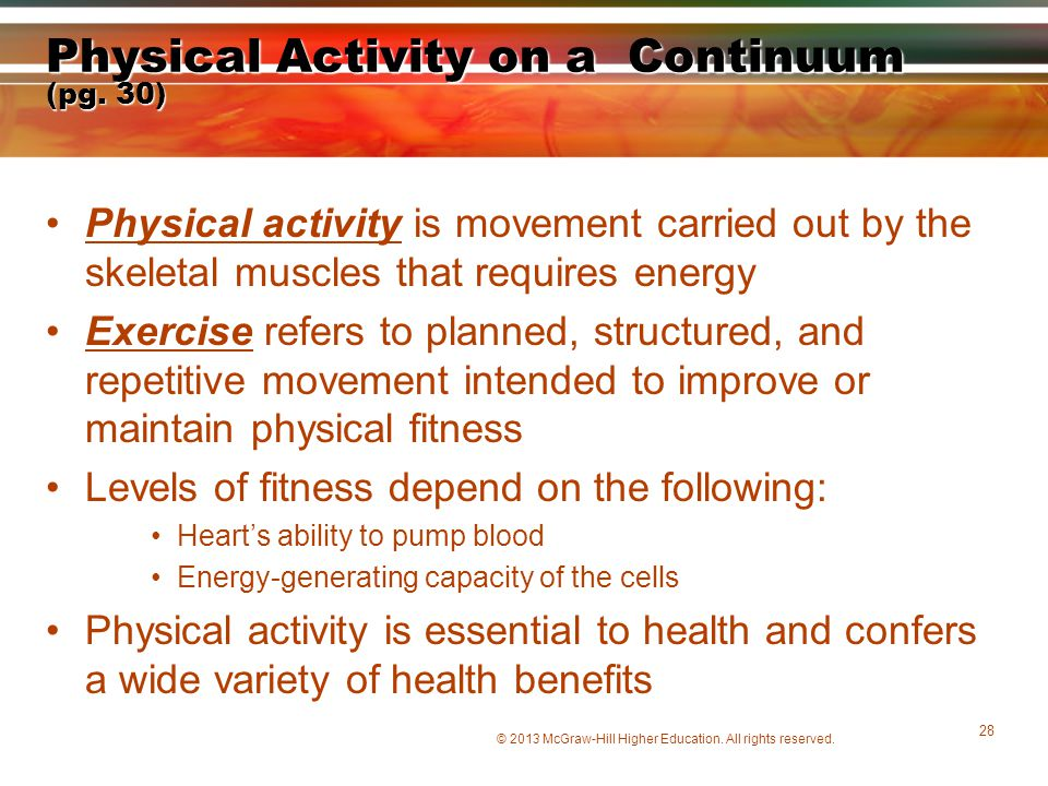 Physical Activity on a Continuum (pg. 30)