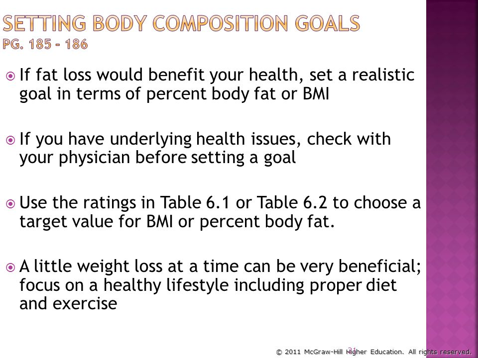 Setting Body Composition Goals pg. 185 - 186