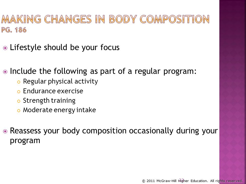 Making Changes in Body Composition pg. 186