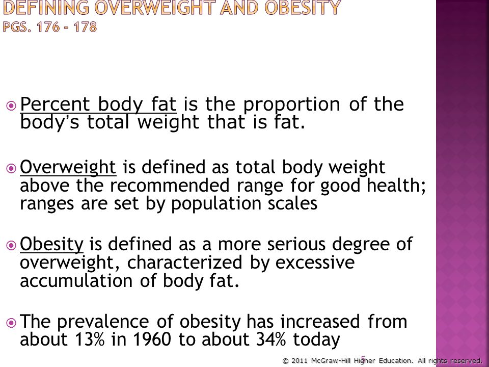 Defining Overweight and Obesity pgs. 176 - 178
