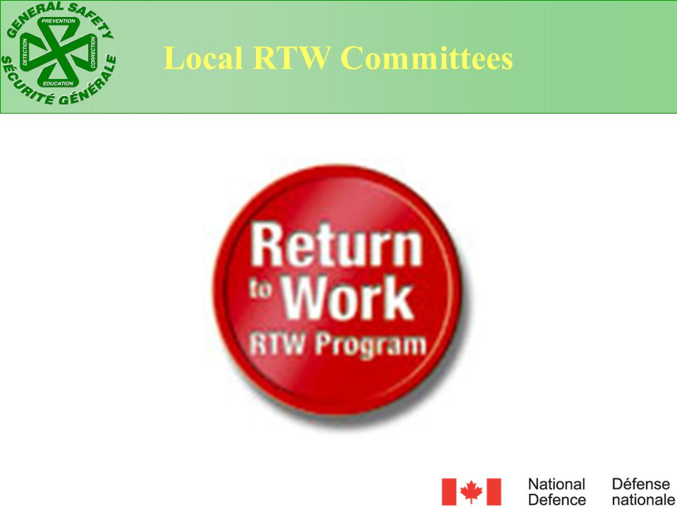 Local RTW Committees At the local level RTW issues can be addressed through a committee in one of two ways: