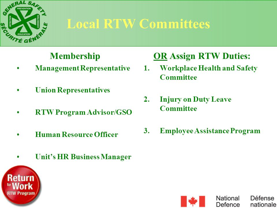 Local RTW Committees Membership OR Assign RTW Duties: