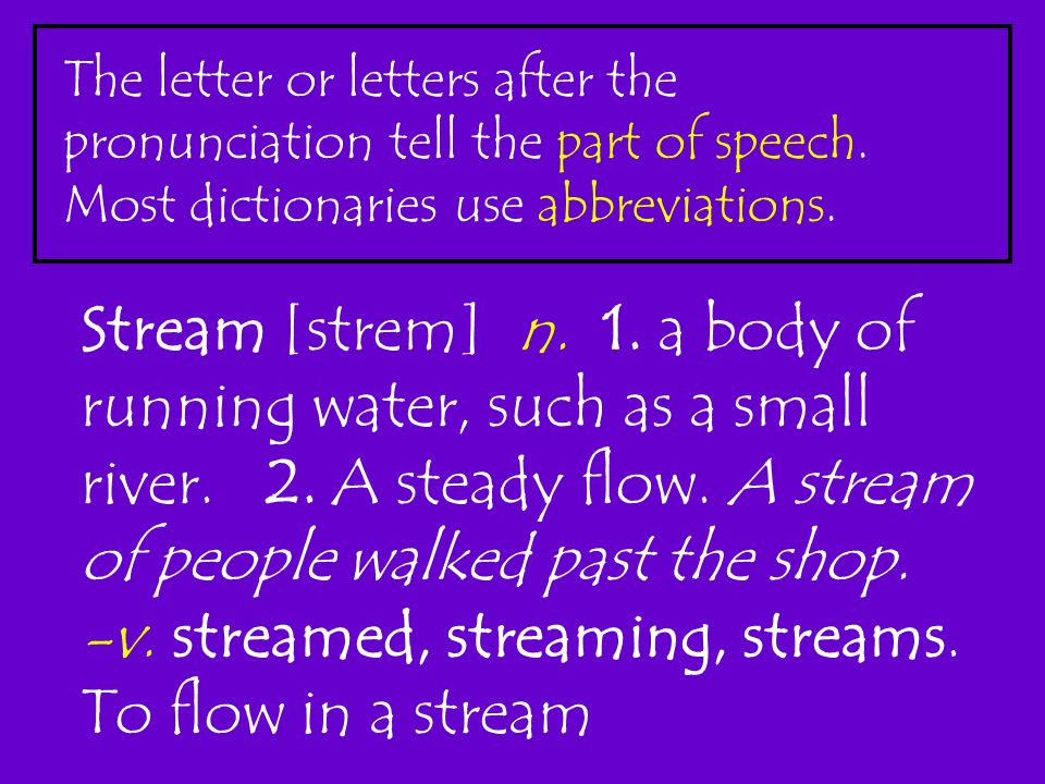 The letter or letters after the pronunciation tell the part of speech