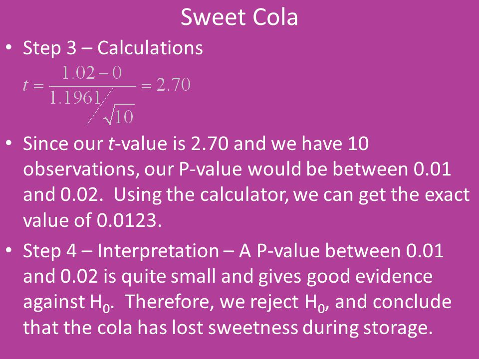 Sweet Cola Step 3 – Calculations