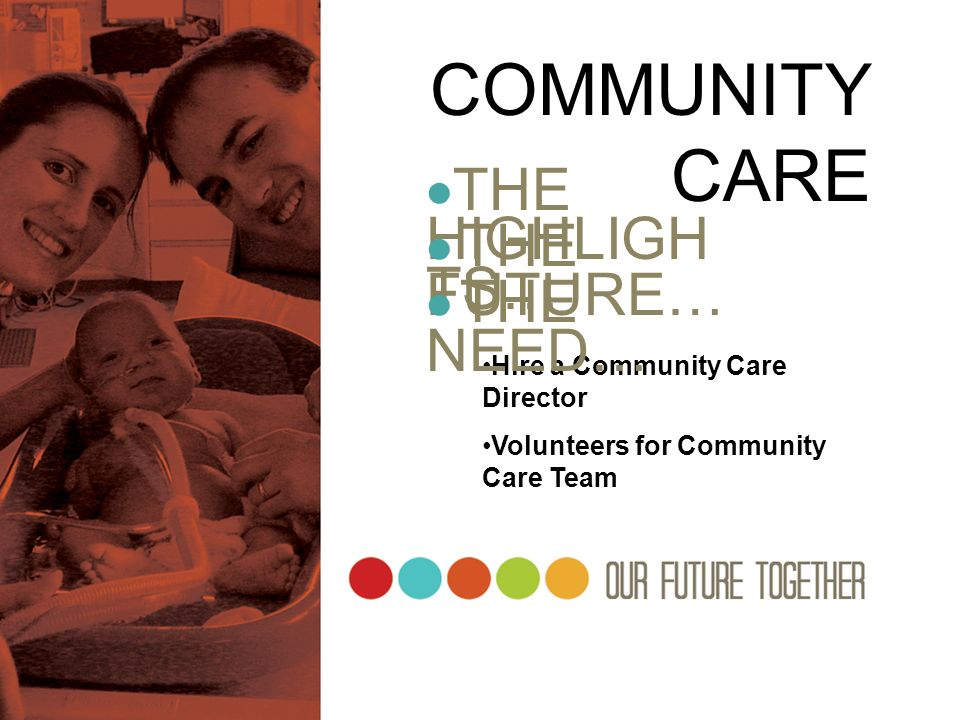 COMMUNITY CARE THE HIGHLIGHTS…  THE FUTURE…  THE NEED…