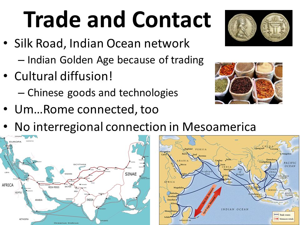 Trade and Contact Silk Road, Indian Ocean network Cultural diffusion!
