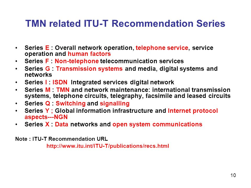 TMN related ITU-T Recommendation Series