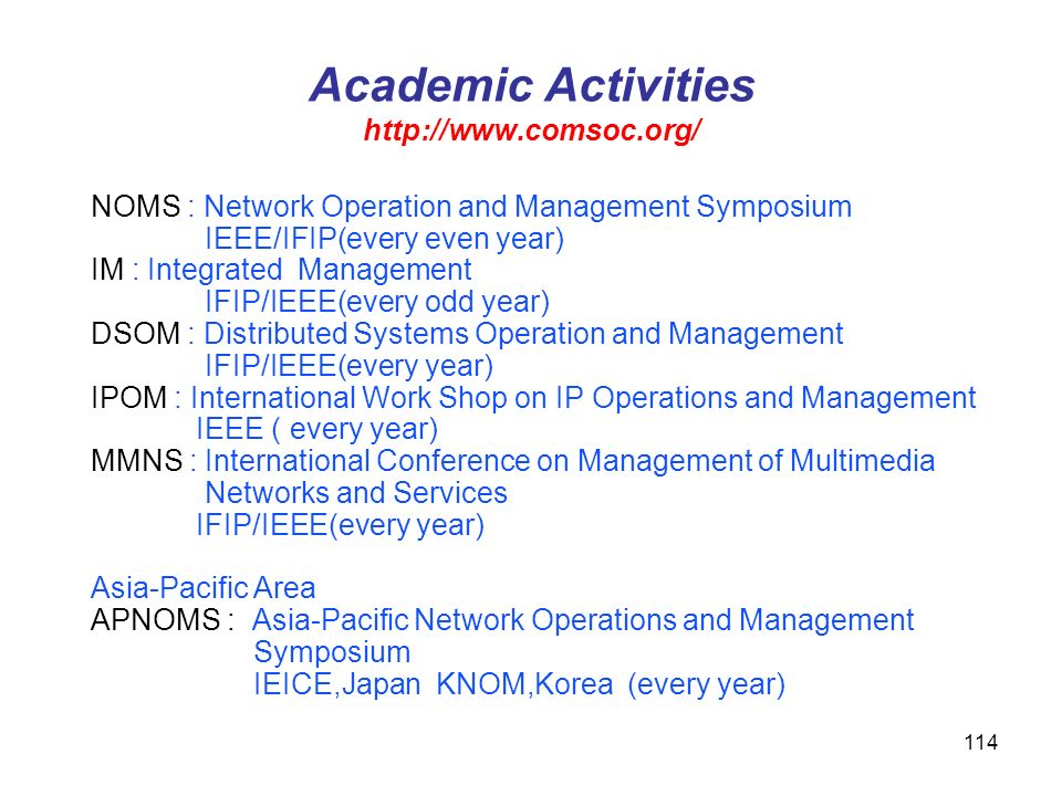 Academic Activities http://www.comsoc.org/