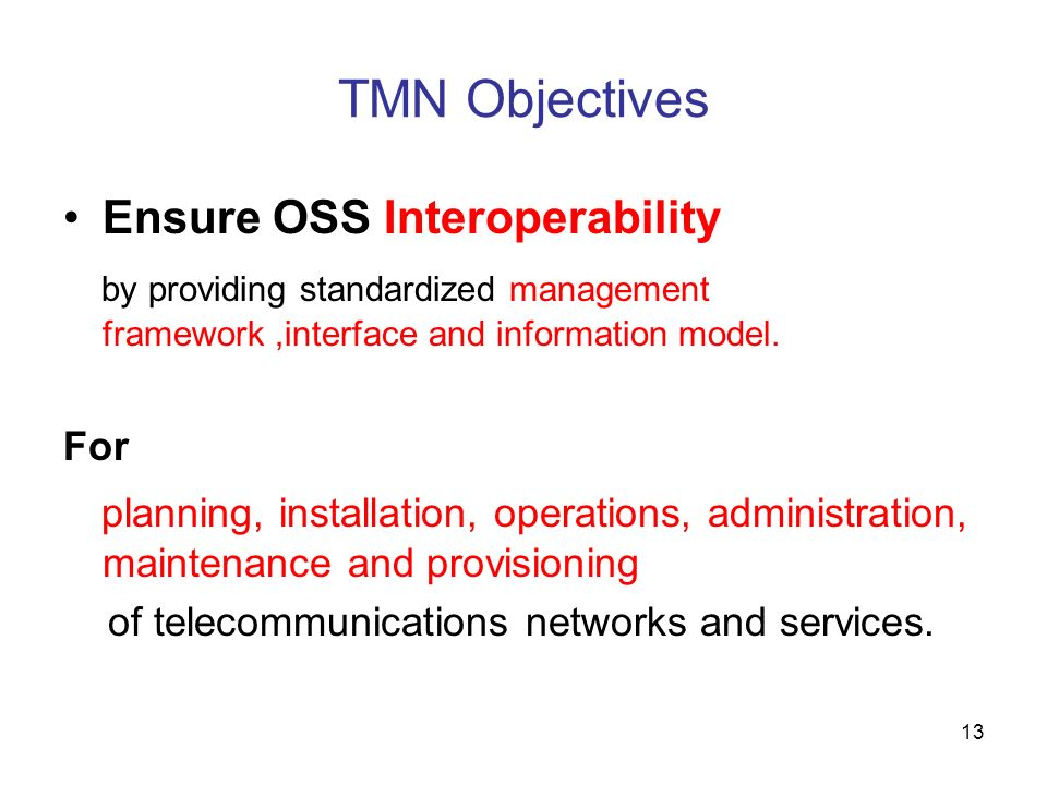 TMN Objectives Ensure OSS Interoperability