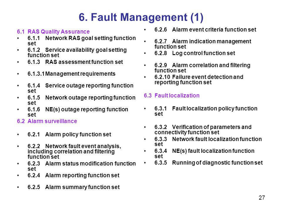 6. Fault Management (1) 6.2.6 Alarm event criteria function set