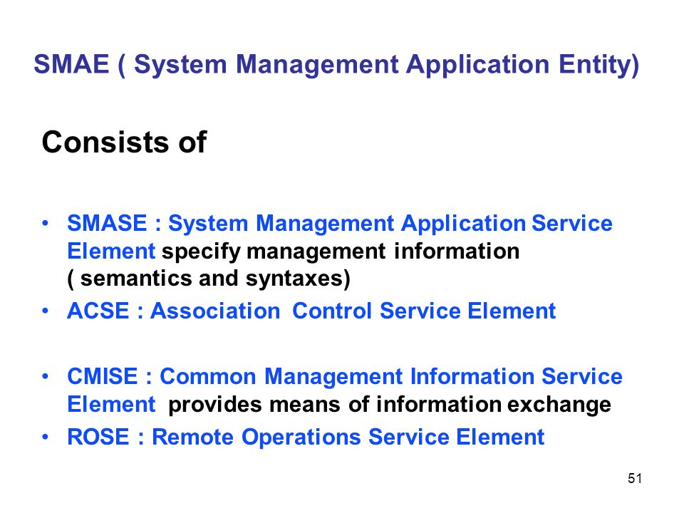 SMAE ( System Management Application Entity)
