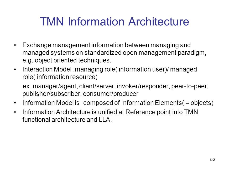 TMN Information Architecture