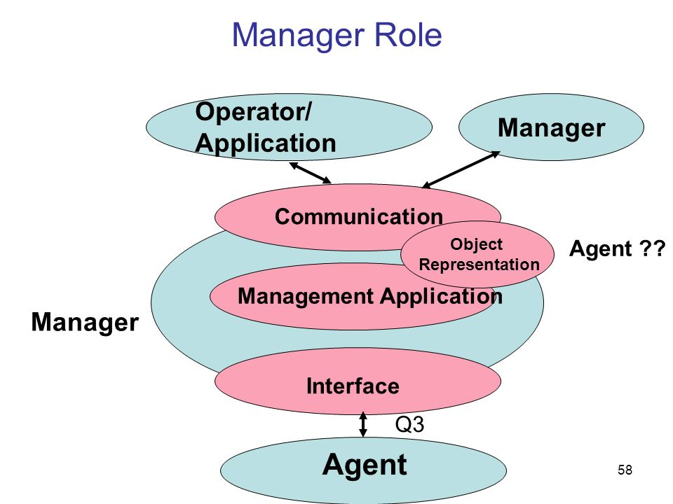 Manager Role Agent Operator/ Manager Application Manager Communication