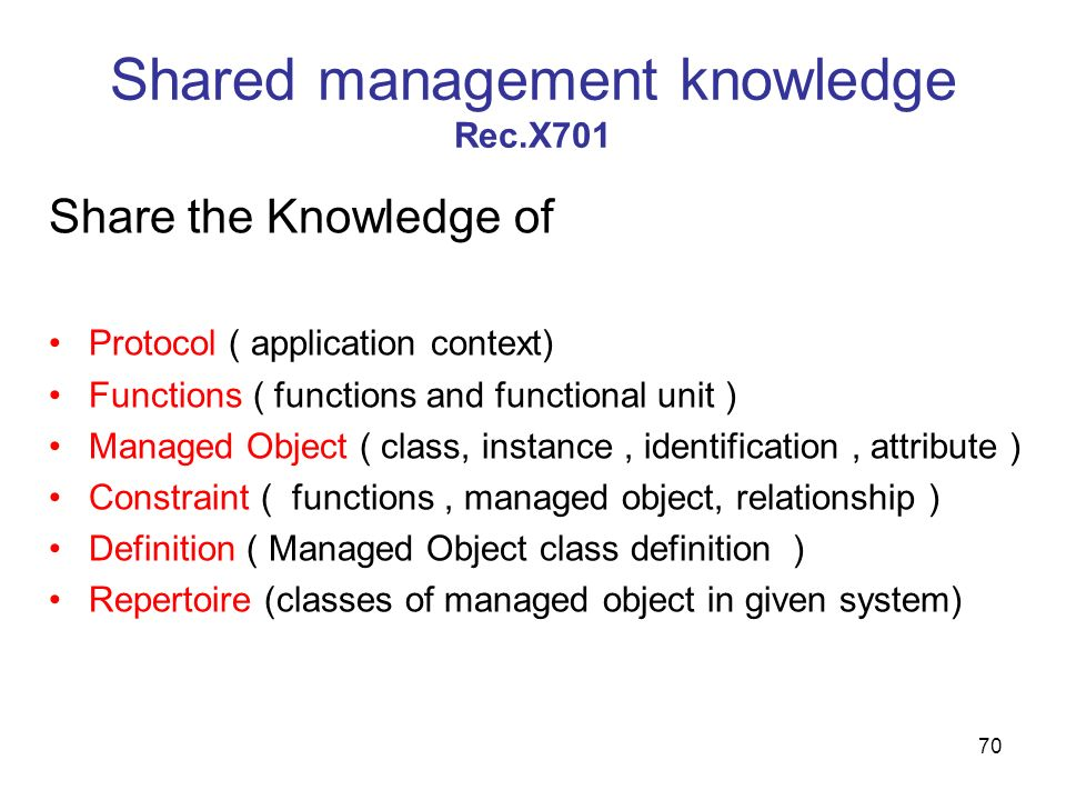 Shared management knowledge Rec.X701