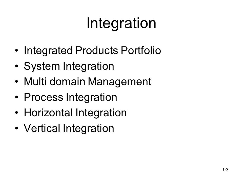 Integration Integrated Products Portfolio System Integration