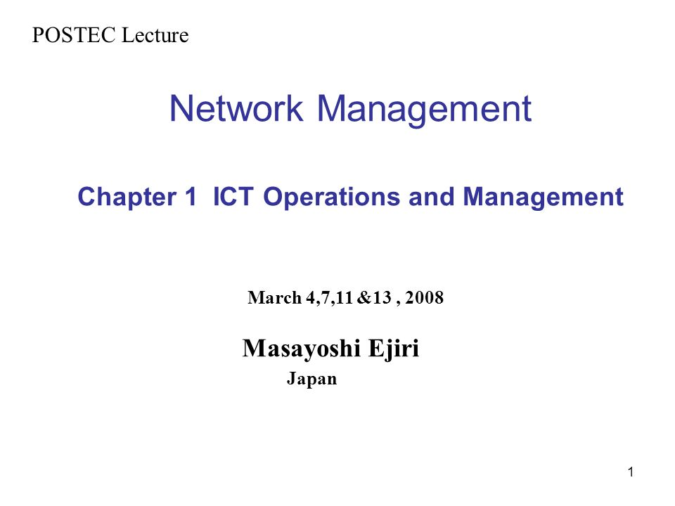 Network Management Chapter 1 ICT Operations and Management