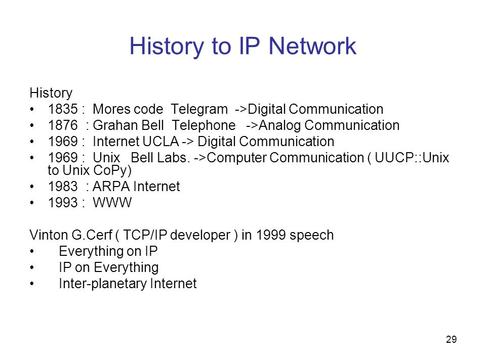 History to IP Network History