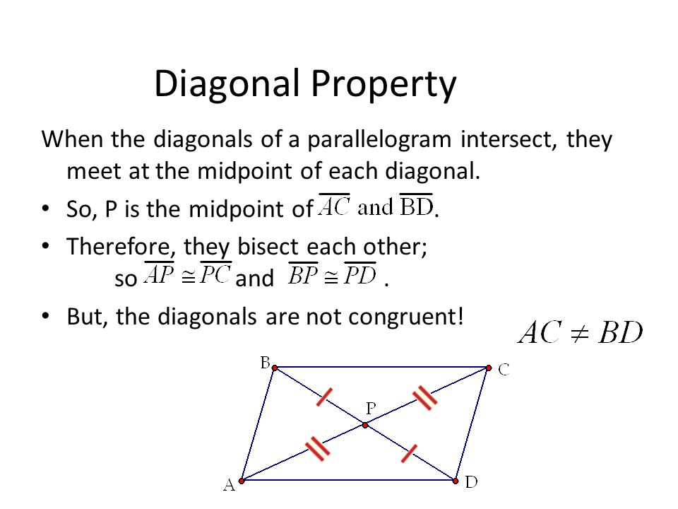 Diagonal Property When the diagonals of a parallelogram intersect, they meet at the midpoint of each diagonal.