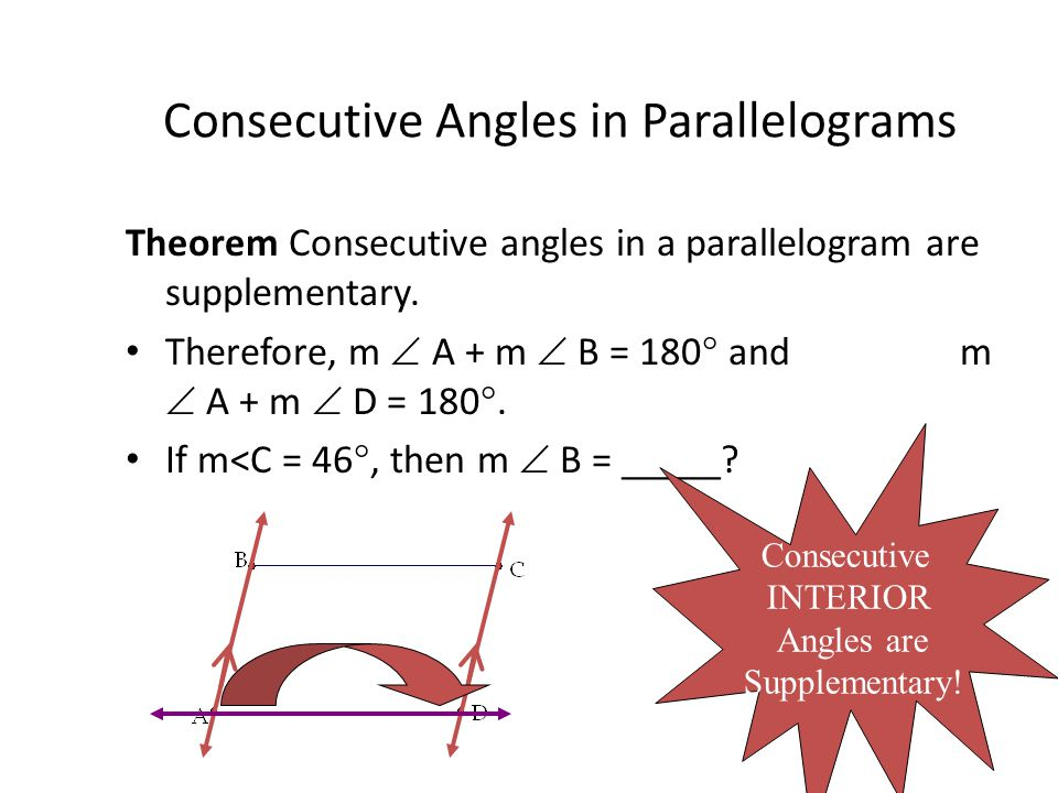 Consecutive Angles in Parallelograms