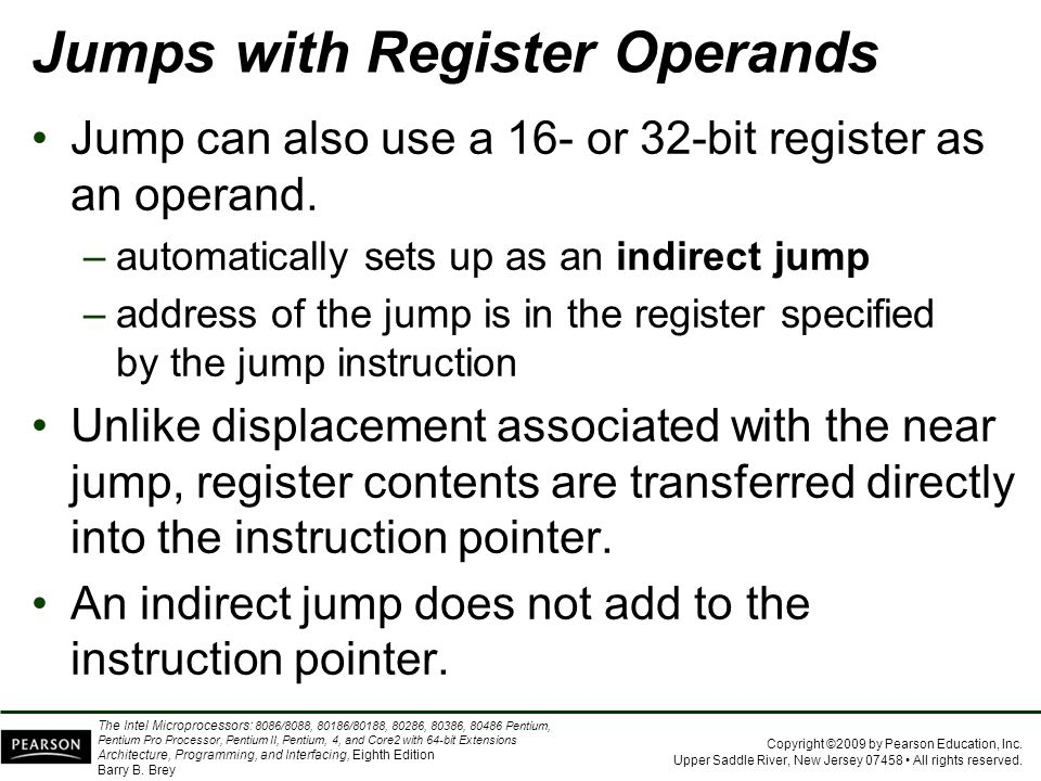 Jumps with Register Operands