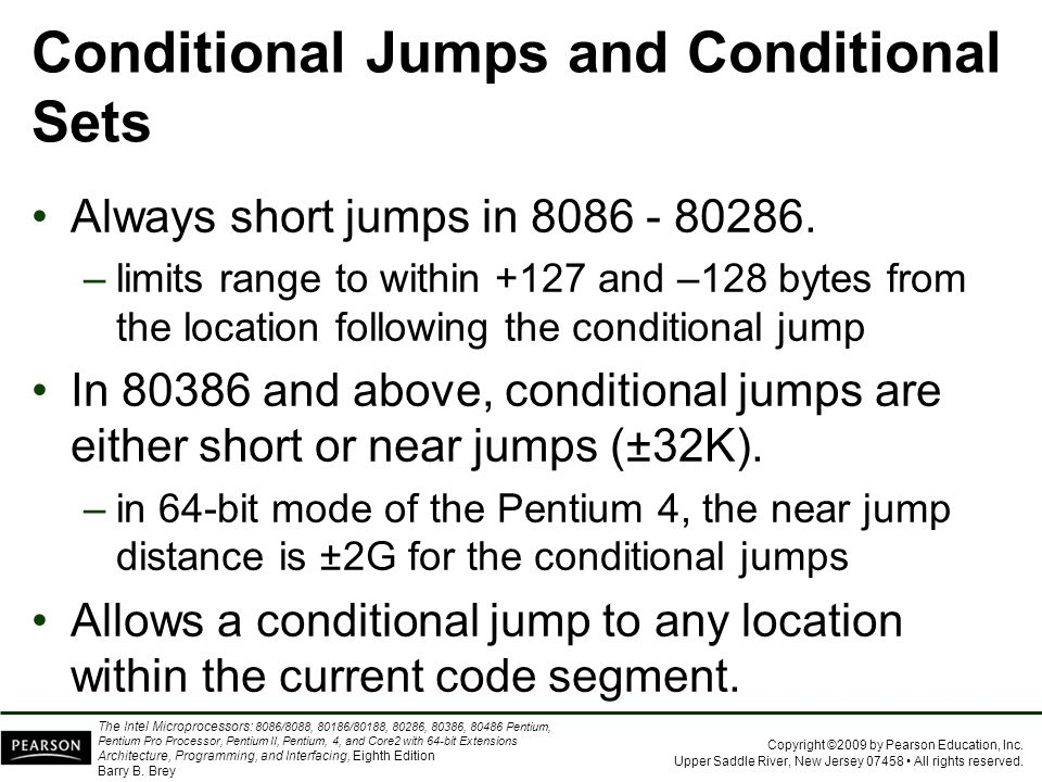 Conditional Jumps and Conditional Sets