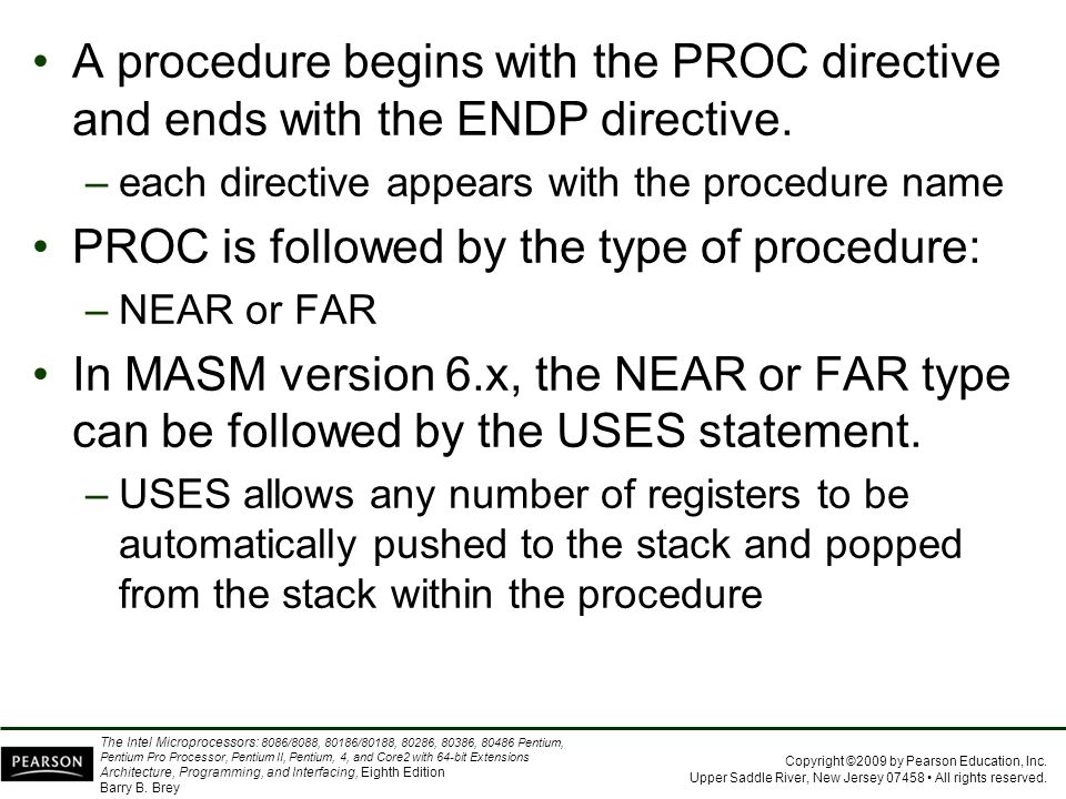 PROC is followed by the type of procedure: