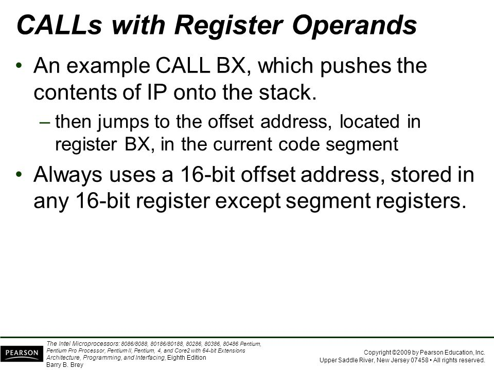 CALLs with Register Operands
