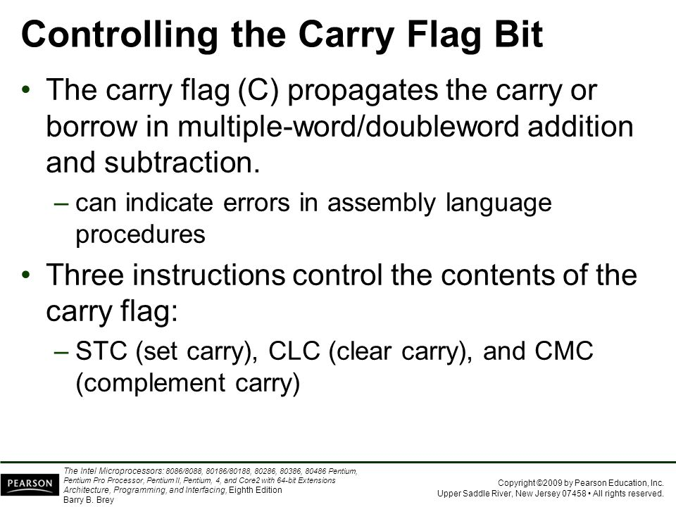 Controlling the Carry Flag Bit