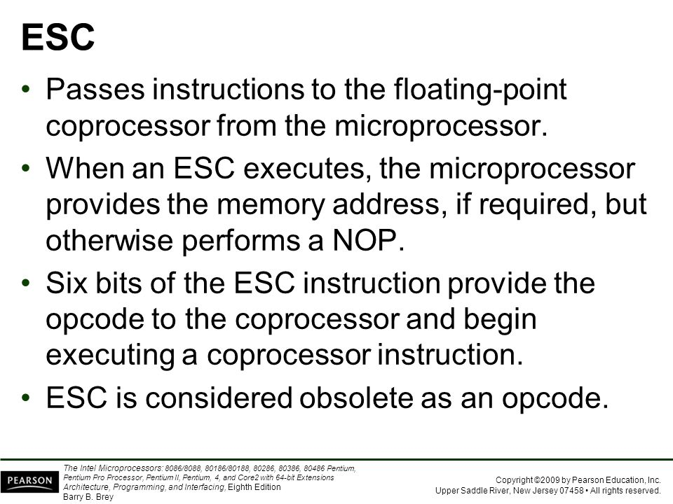 ESC Passes instructions to the floating-point coprocessor from the microprocessor.
