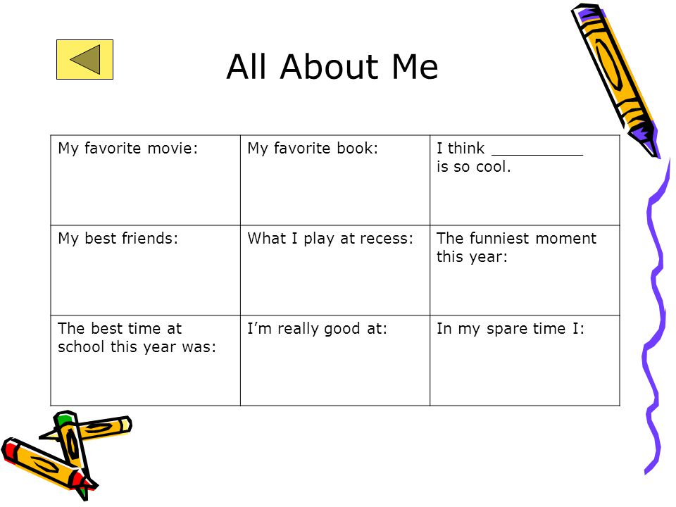 All About Me My favorite movie: My favorite book: I think __________