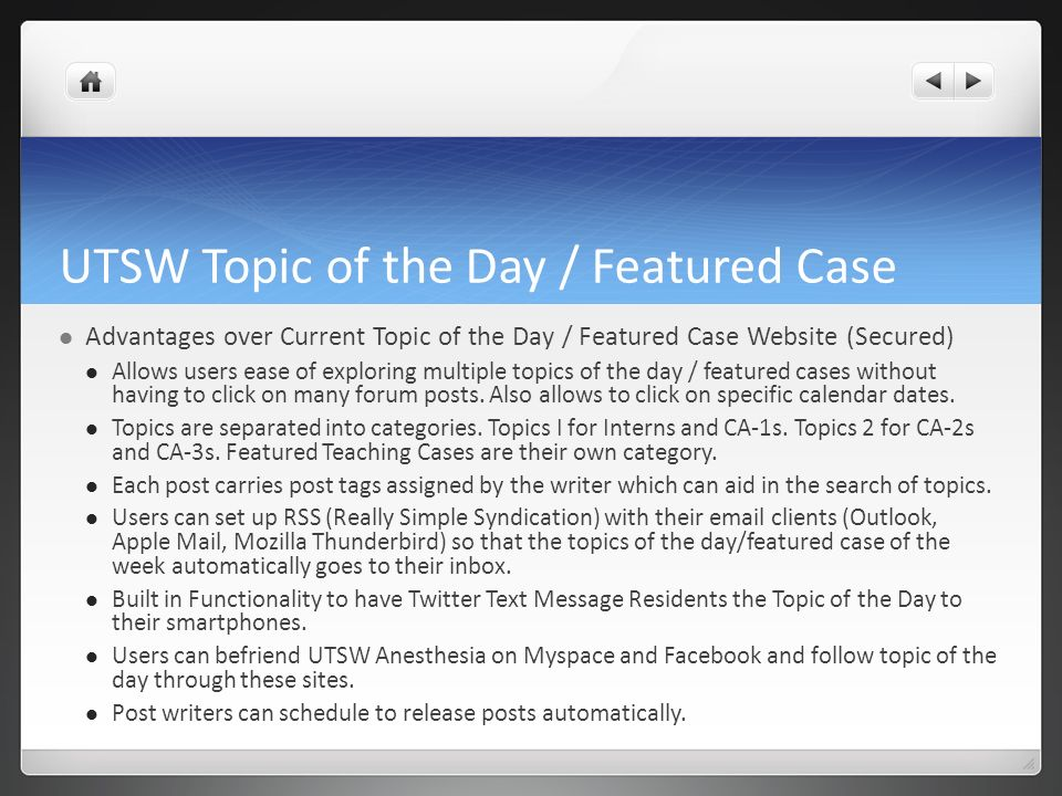 UTSW Topic of the Day / Featured Case