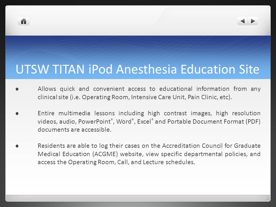 UTSW TITAN iPod Anesthesia Education Site