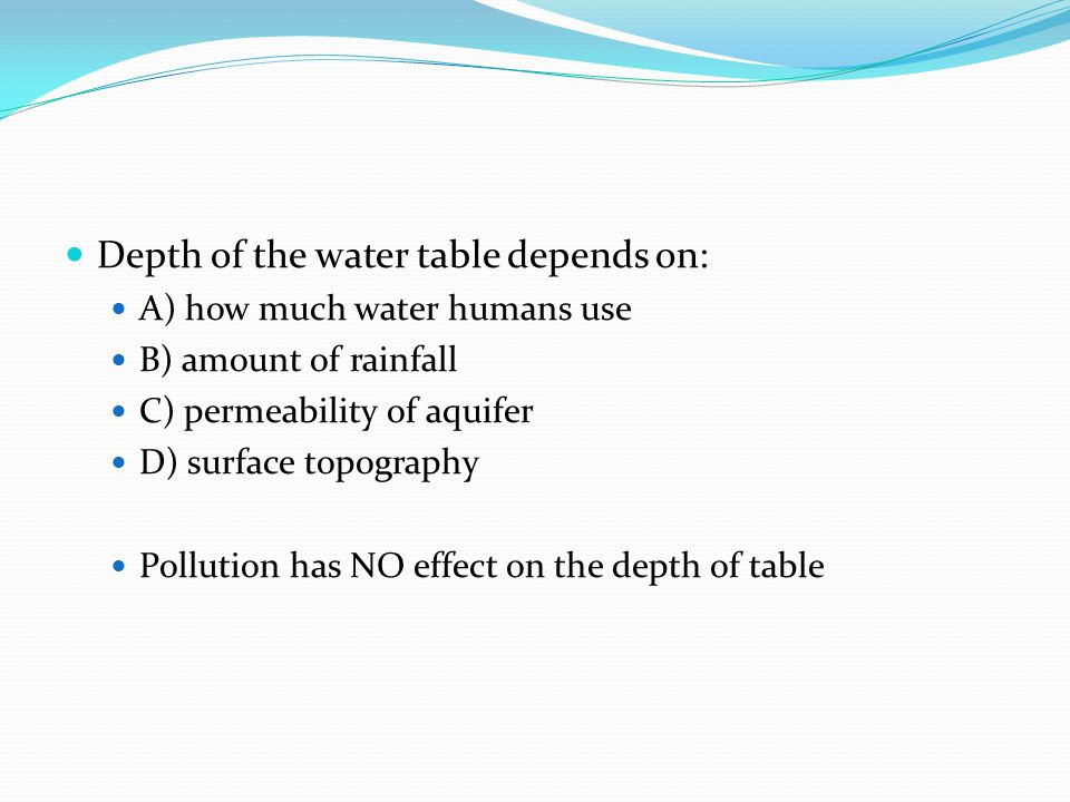 Depth of the water table depends on:
