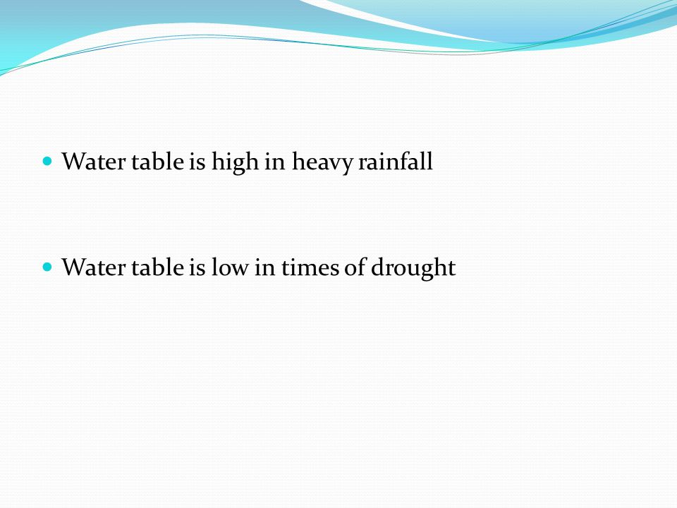 Water table is high in heavy rainfall