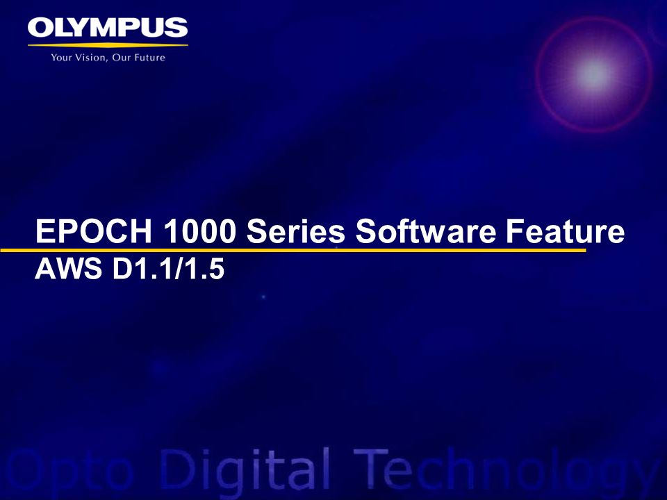 EPOCH 1000 Series Software Feature AWS D1.1/1.5