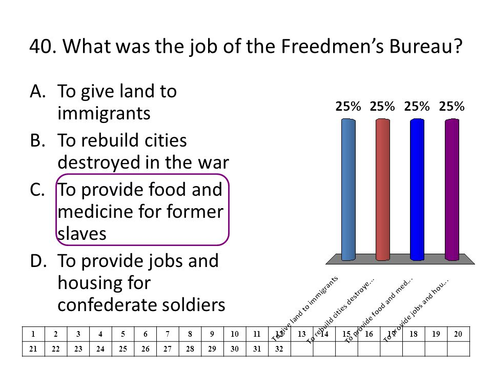 40. What was the job of the Freedmen's Bureau