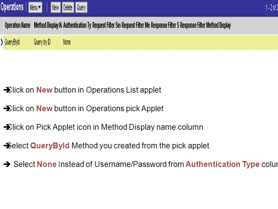 Click on New button in Operations List applet