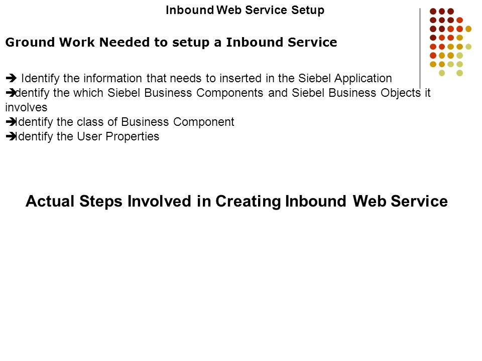 Actual Steps Involved in Creating Inbound Web Service