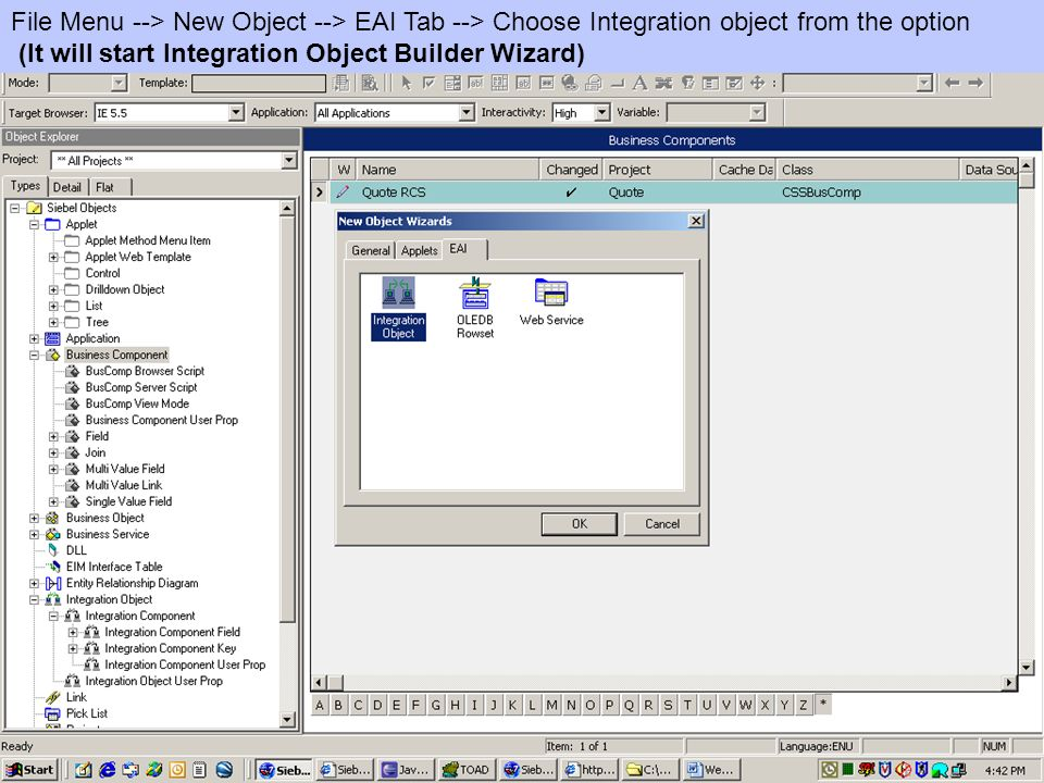 File Menu --> New Object --> EAI Tab --> Choose Integration object from the option