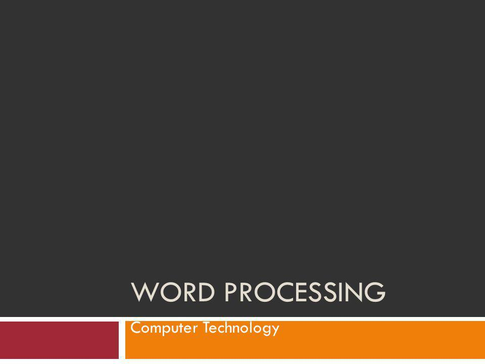 Word Processing Computer Technology