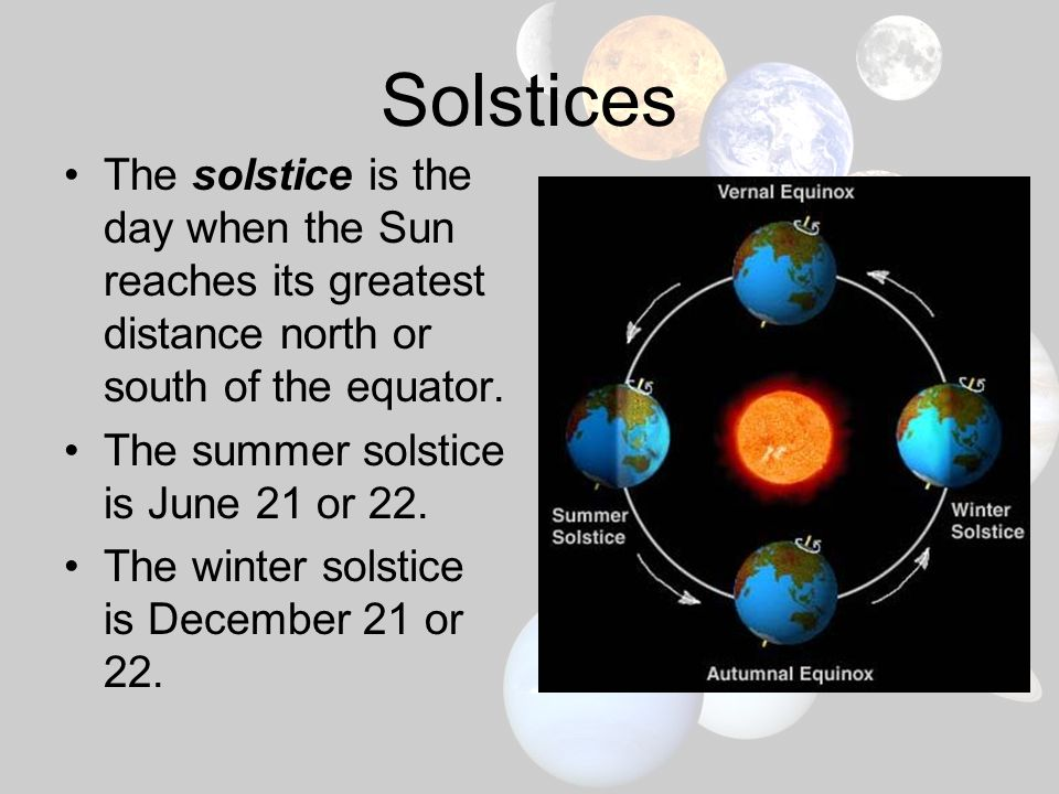Solstices The solstice is the day when the Sun reaches its greatest distance north or south of the equator.