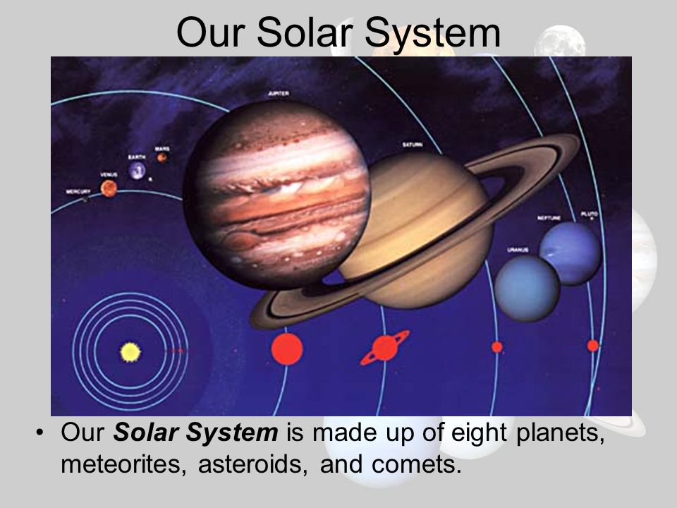 Our Solar System Our Solar System is made up of eight planets, meteorites, asteroids, and comets.