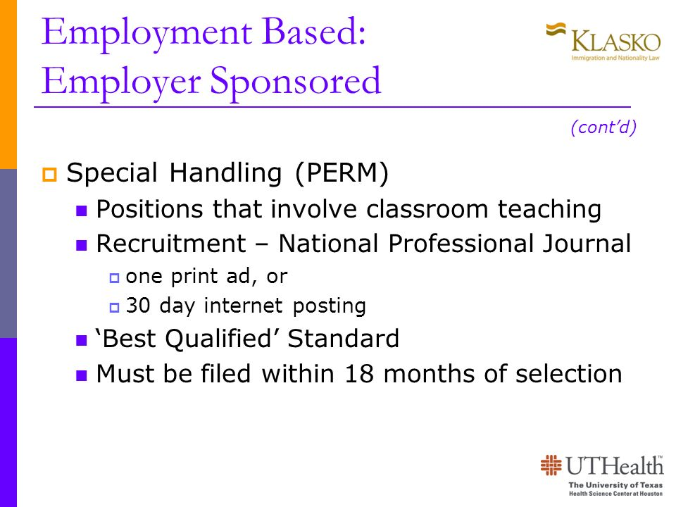 Employment Based: Employer Sponsored